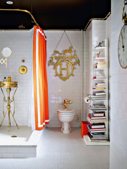 Mesmerizing-bathroom-color-designs-ideas-with-orange-color-with-orange-curtain-also-white-bookcase-and-white-toilet-combine-with-small-mirror